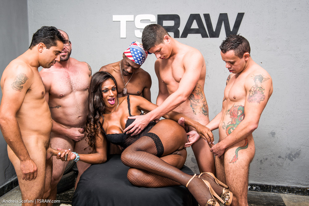 Trans Nicoly na suruba com 5 machos - Só Travestis